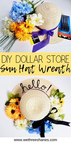 A wreath is an easy way to add character to your front porch. This inexpensive DIY Dollar Tree Sun Hat Wreath is perfect Spring and Summer door decor and sets the mood for happy thoughts before entering the home. Put a smile…Read Dollar Tree Decor, Dollar Tree Crafts, Diy Spring Wreath, Diy Wreath, Wreath Ideas, Wreath Crafts, Decor Crafts, Diy Crafts, Do It Yourself Inspiration