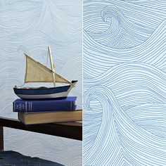 seascape wallpaper @Allie Rose this would be fun in your nautical bathroom!
