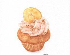 "Banana Cupcake - ORIGINAL Painting (Dessert Illustration, Still Life, Watercolour Food Wall Art) 5x7"""