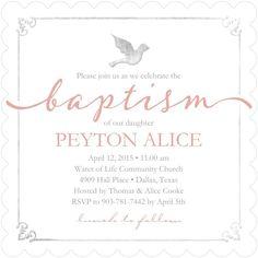 Winged Blessing: Taffy - Baptism, Christening Invitations in Taffy   Sarah Hawkins Designs