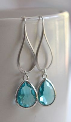 Silver Aquamarine Drop Earrings. Aquamarine Teardrop (Scuba Blue, Pantone Spring / Summer 2015)