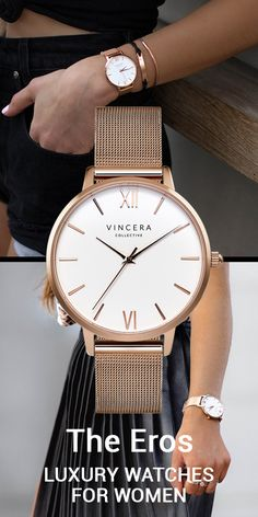 The Eros Rose Gold Mesh with White Face watch from The Vincera Collective. This designer sells pretty, modern womens watches. Find affordable luxury watches under $200 in brown leather, rose gold, silver, light pink and white minimalist and modern watch styles for women at vinceracollective.com.