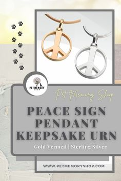 This Peace Sign Pendant Keepsake Urn is a smaller design with a sleeker fillable bail, but it can not be engraved. The chains are sold separately. Pet Memorial Jewelry, Keepsake Urns, Pet Urns, Pet Memorials, Black Velvet, Pewter, Chains, Place Card Holders, Pendant