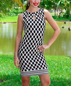 Loving this Blue & Black Zigzag Cutout Bodycon Dress on #zulily! #zulilyfinds