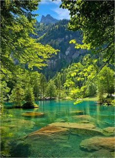 Blue Lake, Kandersteg, Switzerland. Why can't people travel where ever they want when ever they want?