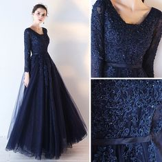 Chic / Beautiful Navy Blue Prom Dresses 2017 A-Line / Princess Long Sleeve V-Neck Appliques Lace Sequins Beading Sash Floor-Length / Long Backless Formal Dresses - Long prom dresses Hijab Prom Dress, Hijab Wedding Dresses, Prom Dresses 2017, Muslim Prom Dress, Prom Dresses Long With Sleeves, Simple Dresses, Beautiful Dresses, Navy Blue Prom Dress Long, Navy Blue Dresses