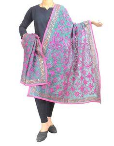 Phulkari Dupatta on Chanderi Fabric -Green&Pink:Giftpiper.com