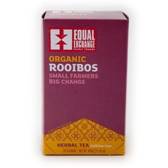 $4.50 Fair Trade Organic Rooibos Tea from small farmers | Equal Exchange. 20 Tea Bags   Aroma: almonds, vanilla, hawthorn berry, clean linen Flavor: almond paste, sweet cedar, vanilla, pine   Instructions: Bring water to boil (212F). Steep for 5-7 minutes.