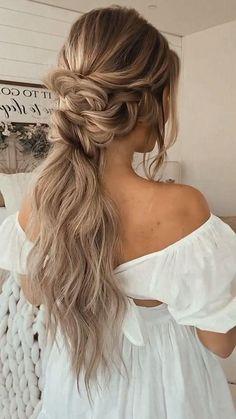 Work Hairstyles, Easy Hairstyles For Long Hair, Braids For Long Hair, Bride Hairstyles, Ponytail Hairstyles, Simple Homecoming Hairstyles, Wedding Guest Hairstyles, Retro Hairstyles, Hair Up Styles