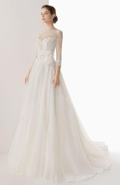 Bateau Neck Illusion Sleeves Tulle Wedding Dress