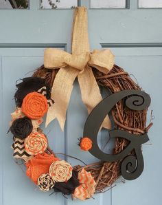 NEW Halloween Grapevine Wreath by YellowOwlDesigns on Etsy, $29.95
