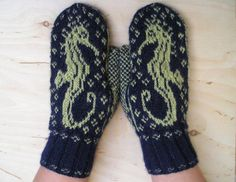 Knitting Pattern for Seahorse Mittens pdf by barefootinvermont, $7.00
