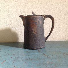 Gladwin LTD Sheffield antique teapot / Overseas League England / 1 Pint teapot / beautifully crusty patina, perfect cottage decor by PureJoyVintage on Etsy