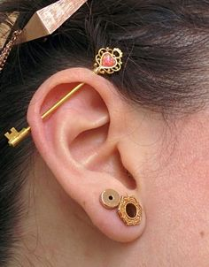 Cool Ear Piercings - Opal Industrial Piercing Barbell Key in 14G Gold at MyBodiArt.com