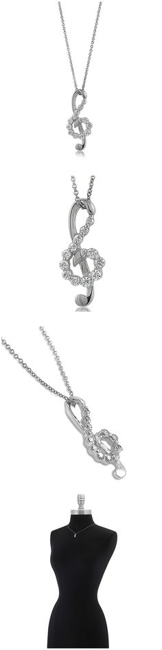 Sterling Silver CZ Treble Clef Music Note Fashion Necklace