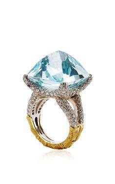 FABULOUS! Aquamarine, Sapphire, And Diamond Sugarloaf Ring by Nicholas Varney for Preorder on Moda Operandi
