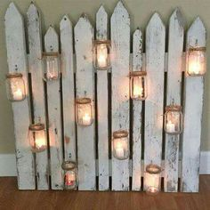 Picket Fence Mason Jar Tea Light Holder