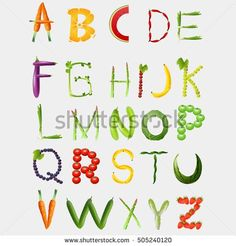 Food alphabet made of vegetables and fruits. Bubble Alphabet, Food Alphabet, Alphabet Writing, Typography Alphabet, Alphabet For Kids, Writing Words, Healthy Work Snacks, Healthy Fruits, Healthy Food