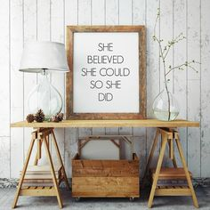 Wall Decor, Art Print, She Believed, Typography Wall Art, Motivational Print, Inspirational Poster, Teen Gift Ideas, Shabby Chic - PT0009