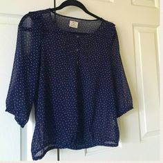 Urban Outfitters Blouse Navy Patterned Top. See through. 100% Polyester. Good as new! Can fit small & X-small. Urban Outfitters Tops Blouses