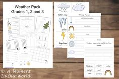 This is an awesome Weather Unit for children in Grades 1,2 and 3.   It contains 132 pages of great activities (and many answers) including: handwriting practice flashcards sentence writing weather chart cloud chart weather dictionary temperature chart favourite season / weather weather book cloud book write a weather poem report writing letter writing …