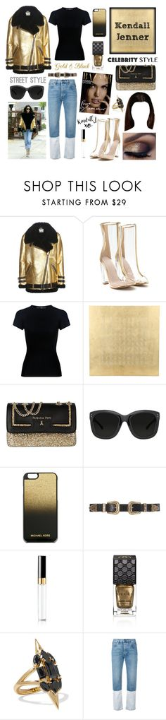 """Celebrity Style: Kendall Jenner"" by amber-the-stylist ❤ liked on Polyvore featuring Acne Studios, TIBI, QLOCKTWO, Patrizia Pepe, Linda Farrow, MICHAEL Michael Kors, B-Low the Belt, Chanel, Gucci and Noir Jewelry"