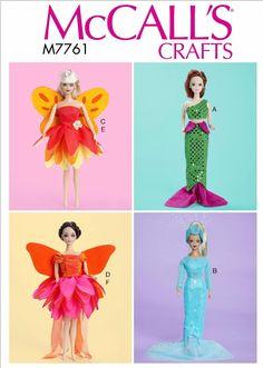 78a1b61b1cf9 Sewing Pattern 11 1/2 inch Fashion Doll Costumes Pattern, 11.5 Fashion Doll  Mermaid Costume Pattern, McCall's Sewing Pattern 7761