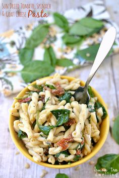 Sun Dried Tomato, Spinach , Goat Cheese Pasta