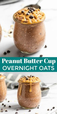 Chocolate Peanut Butter Overnight Oats A healthy breakfast in a jar? You bet! This recipe for peanut butter cup overnight oats is perfect for busy mornings. Can easily be made vegan if needed! Overnight Oats In A Jar, Chocolate Overnight Oats, Peanut Butter Overnight Oats, Healthy Overnight Oats, Peanut Butter Breakfast, Chocolate Oats, Chocolate Ganache, Chocolate Chips, Peanut Butter Recipes