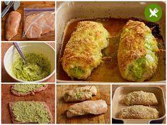 rollitos de pechuga de pollo con pesto