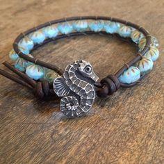 "Rustic Sea Horse Leather Wrap Bracelet, ""Beach Chic"""