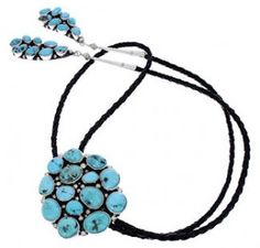 Navajo Turquoise Sterling Silver Bolo Tie MW77911