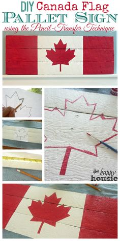 Canada Flag Pallet Sign on Dock Cleat Hanger {Boys' Room Progress DIY Canada Flag Pallet Sign using the Pencil Transfer Technique Tutorial at The Happy Housie Pallet Flag, Pallet Art, Pallet Signs, Diy Pallet Projects, Craft Projects, Projects To Try, Pallet Ideas, Palette Projects, Wood Flag