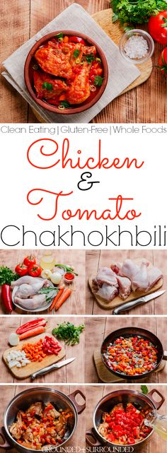 The BEST Chicken & Tomato Chakhokhbili | This easy and healthy recipe is for family and friends! Georgian cuisine at it's finest! Look no further if you are on a budget (feeds 6-8!), need a a meal for weight loss or a new dinner idea. Clean eating, low carb, 21 Day Fix, Paleo, whole foods, gluten-free, fresh produce, protein, this meal is as healthy as it gets plus SO flavorful! Serve alongside rice, potatoes, or quinoa.