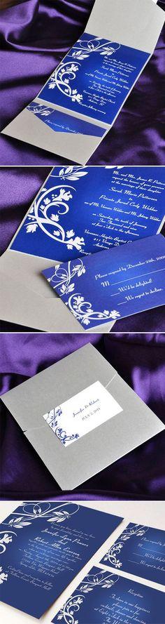royal blue and grey pocket elegant wedding invitations