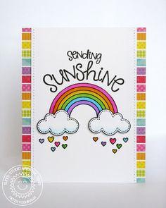 Sunny Studio Stamps Sending Sunshine Rainbow Card by Mendi (using Rain or Shine and Sunny Sentiments)