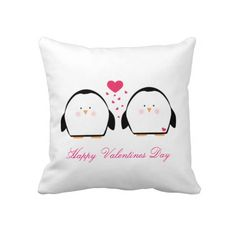 Happy Valentines Penguins Pillows