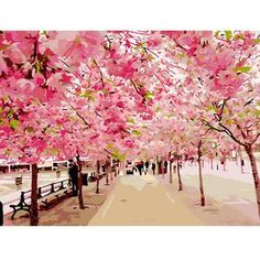Paint by Number Kits for Adults Kids, DIY Digital Canvas Oil Painting Gift for Adults Kids Paint by Number Kits Home Decorations- Cherry Blossoms 16 * 20 inch Cherry Blossom Tree, Pink Blossom, Blossom Trees, Cherry Tree, Blossom Flower, Diy Image, Diy Fleur, Pretty Landscapes, Romantic Road