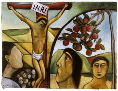 Colin McCahon, Crucifixion: The apple branch</em>, 1950 Venice Biennale, Australian Art, Visual Identity, New Zealand, Oil On Canvas, Mona Lisa, Disney Characters, Fictional Characters, Museum