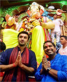 #RanbirKapoor at Lalbaugcha Raja in Mumbai.