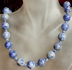 Blue Field Jasper Necklace lSilver Coated Finish  22 by camexinc, $25.00