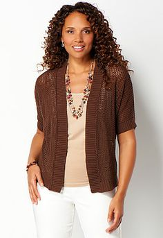 Dohlman Mixed Mesh Cardigan - View All New Christopher & Banks