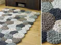 hand crocheted rug, can't be that hard to figure out...love the big puffy flowers