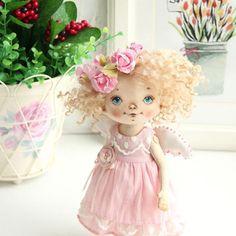 Ангел в нежно розовом🌸🌸🌸. Малышка продана. #ангел #куклысахаровойнатальи #интерьернаякукла