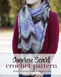 FREE CROCHET PATTERN - Iced Coffee Chevron Scarf - Crochet Pattern by Rescued Paw Designs