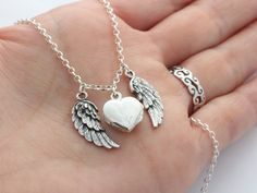 Angel Wing Necklace Sterling Silver Locket Angel by LifeOfSilver
