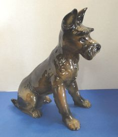 "Schnauzer, Porcelain Dog,  11-1/2"" Vintage Dog Made in W. Germany by Goebel"