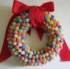 1 creative christmas wreaths for 2014 Christmas Crafts For Kids, All Things Christmas, Holiday Crafts, Holiday Fun, Christmas Holidays, Christmas Wreaths, Christmas Decorations, Reproduction Photo, Candy Wreath