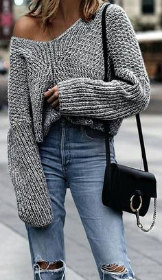 #winter #fashion /  Grey Off Shoulder Knit + Destroyed Jeans
