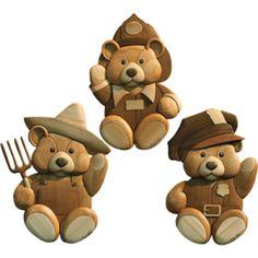 RANGER, POLICEMAN, AND FIREMAN TEDDY BEARS *